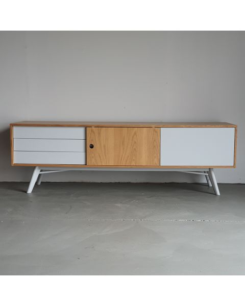 retro tv meubel wit eiken