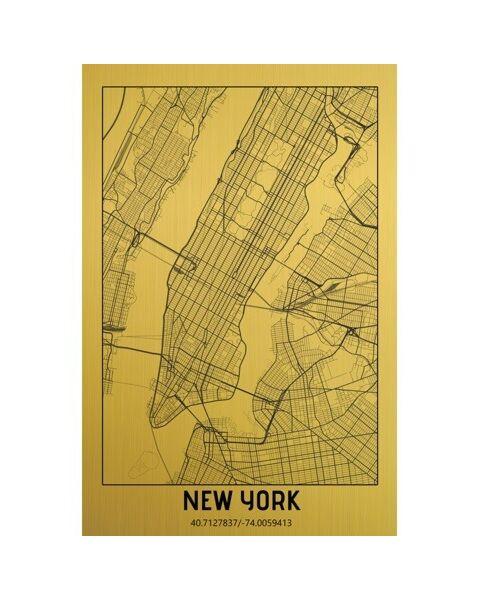 Mondiart Schilderij City Map New York Gold