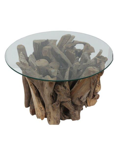 salontafel glas en hout