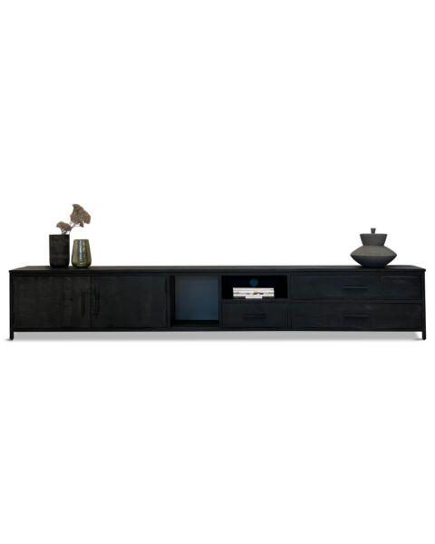 Tv dressoir 300cm zwart mango