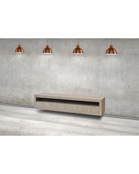 tv-meubel helder 3 laden open vak