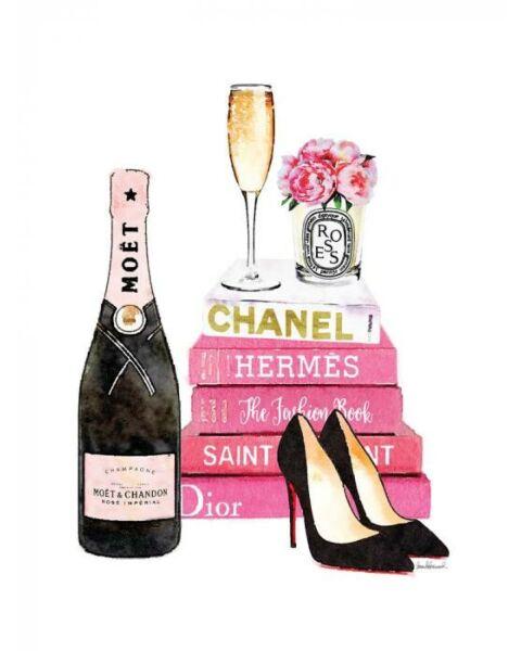 Glasschilderij Chanel Roze