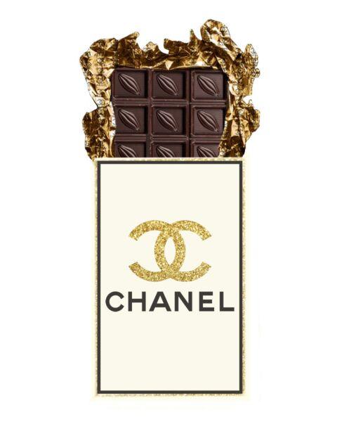 Glasschilderij Chanel Chocolade