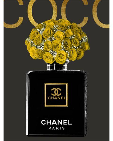 Glasschilderij Coco Chanel Fles
