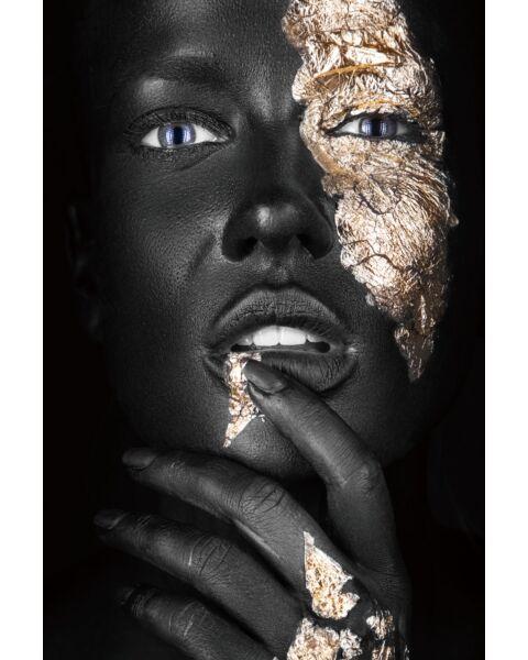 Glasschilderij Vrouw Met Blad Goud