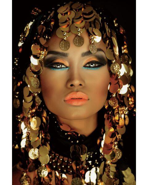 Glasschilderij Oosterse Vrouw Goud