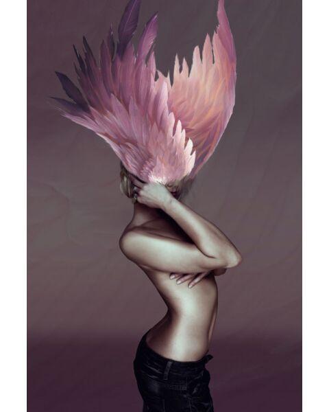 Glasschilderij Vrouw Met Roze Veren