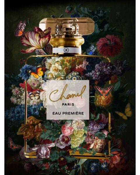Glasschilderij Parfum Chanel Zwart