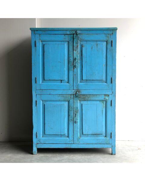 India Houten Wandkast Blauw   Zen Lifestyle