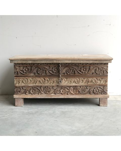 India Wooden Houten Kist Motief   Zen Lifestyle