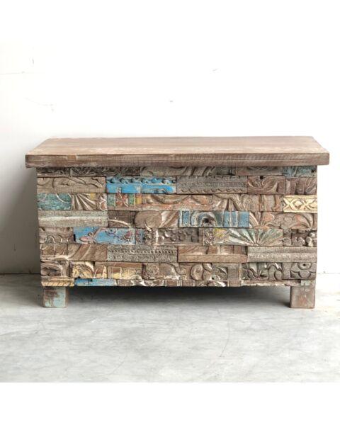 India Wooden Houten Kist Motief | Zen Lifestyle