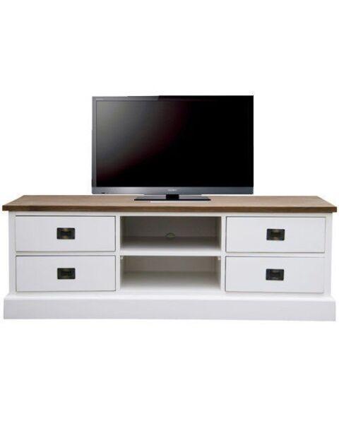 Tv-meubel Lisa wit met vergrijsd bovenblad