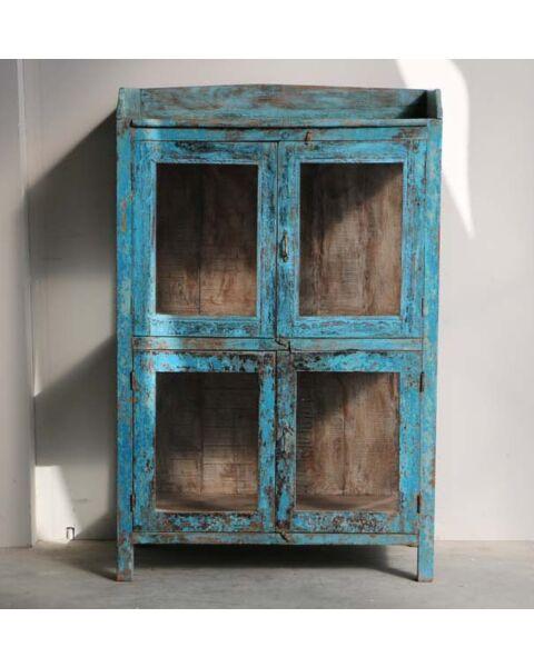 houten almirah kastje blauw