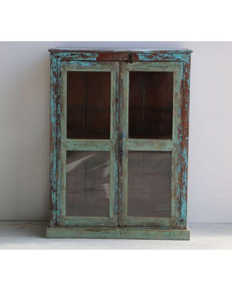 houten wandkastje blauw india