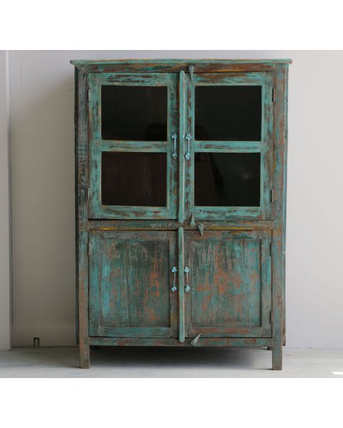 oude cabinet hout india blauw