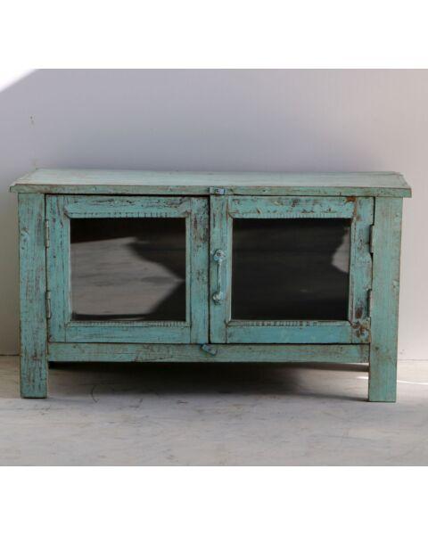 wooden showcase blauw