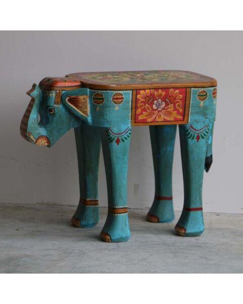 houten bijzettafel olifant blauw