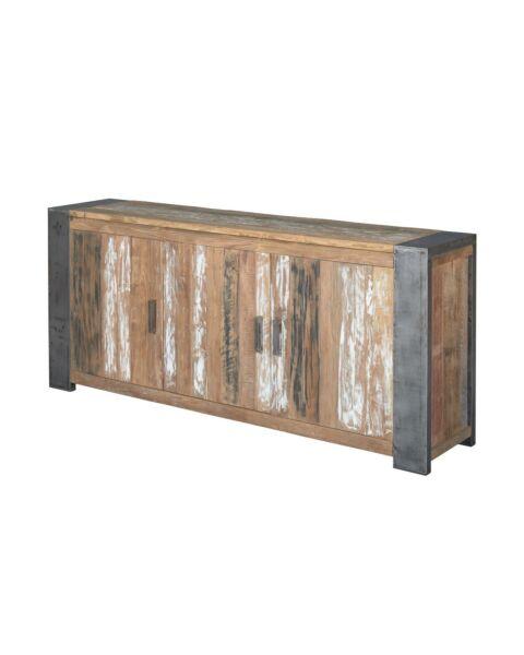 Dressoir Novara met 3 deuren is gemaakt van gerecycled teakhouten blad met stalen hoeken.
