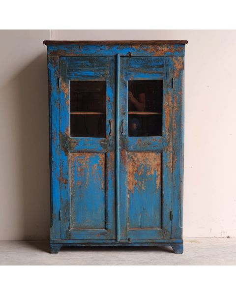 blauwe wandkast uit india