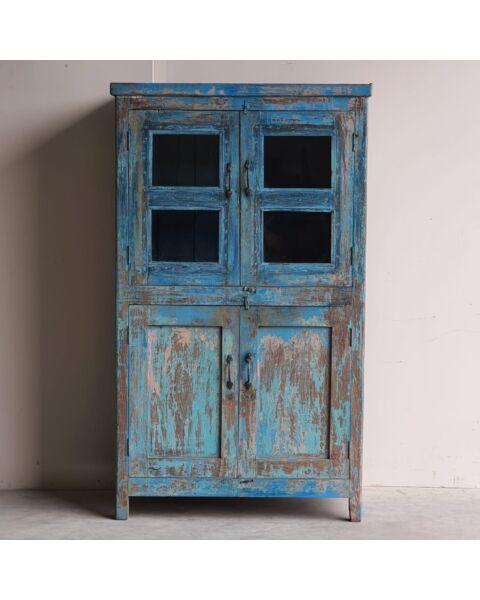 India Glass Door Cabinet Blauw | Zen Lifestyle