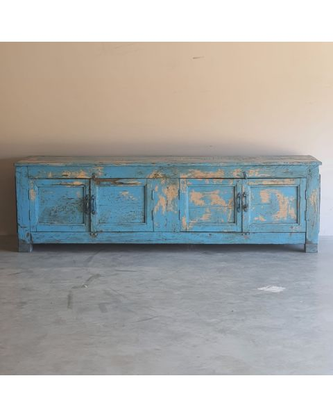 Houten India Vitrinekast Blauw