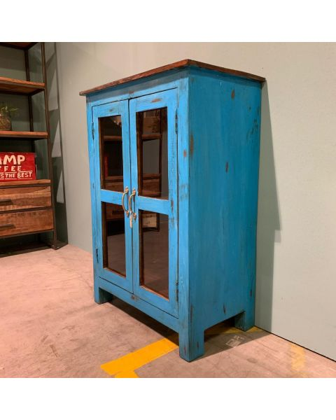 houten kast blauw