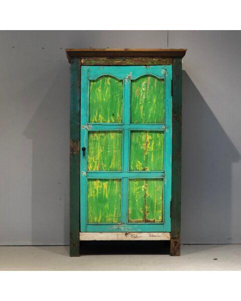 India Houten Wandkast Blauw/Groen